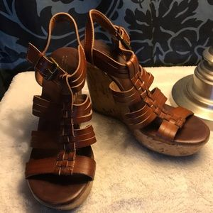 Mossimo brown cork heeled wedges
